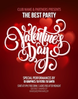 Valentines day party flyer or poster template