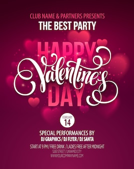 Valentines day party poster design. template of invitation, flyer, poster