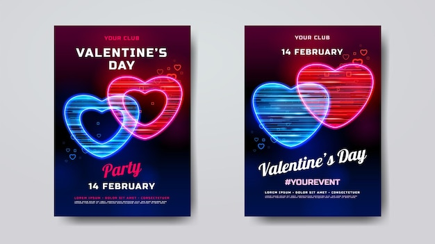 Valentines day party poster mockup
