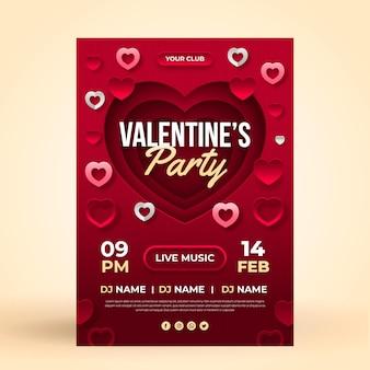 Шаблон плаката вечеринки на день святого валентина в бумажном стиле