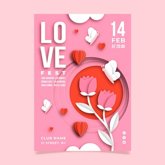 紙のスタイルでバレンタインデーのパーティーポスターテンプレート