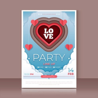 Valentines day party poster template in paper style