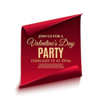 Valentines day party poster template. red, curved, paper banner isolated on white background.