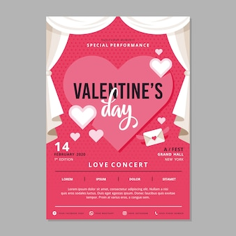 Valentines day party poster template
