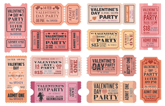 Valentines day party ticket templates with love holiday cupids