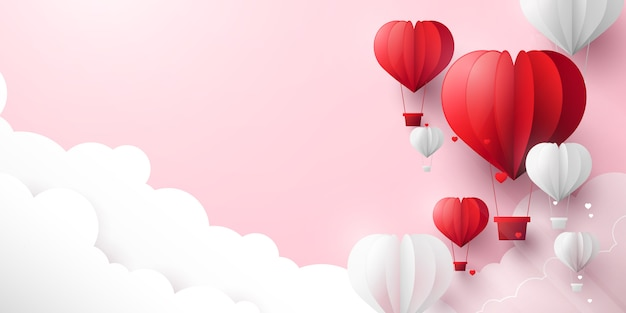 Valentines day and pastel color background. red and white hearts shaped balloons flying in sky. paper art