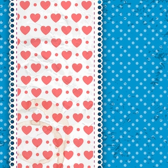 Valentines day pattern blue on white dots and band with fabric and ruffles vector illustration
