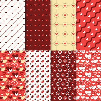 Valentines day pattern collection in flat design