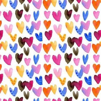 水彩のハートとバレンタインデーのパターン