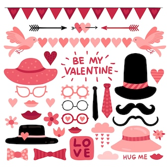 Valentines day photo booth props. pink love wedding scrapbook elements, lips and mustaches. glasses, tie and red heart vector selfie quotes. heart props and pink cute valentine photobooth illustration