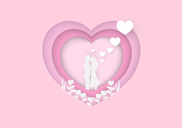 Valentines day pink background. wallpaper. happy valentines day card with hearts paper cut hearts and clouds for romantic valentines day design