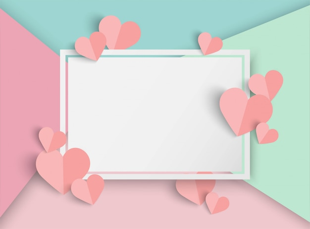 Valentines day pink  background with heart shape