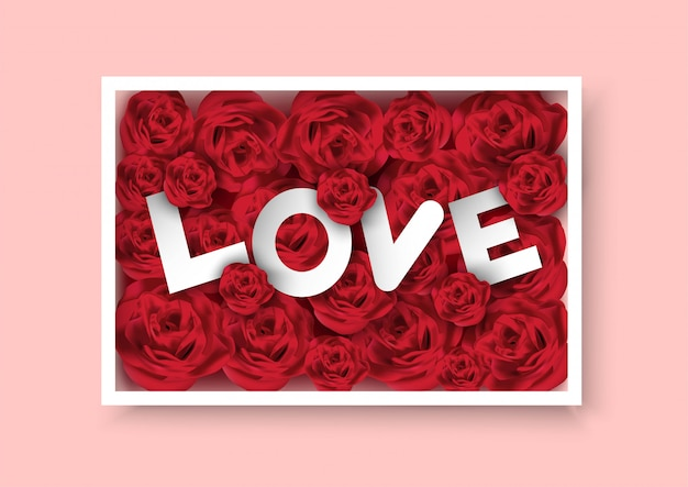 Valentines day pink background with rose