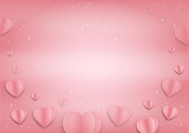 День святого валентина розовая бумага сердца линия