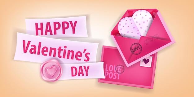 봉투, 종이 심장 엽서, 레터링, 씰링 왁스와 함께 발렌타인 데이 핑크 로맨틱 배경. 해피 홀리데이 사랑 인사말 카드 3d 디자인. 판매, 판촉을위한 발렌타인 데이 배너