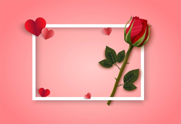 Valentines day pink vector background with rose