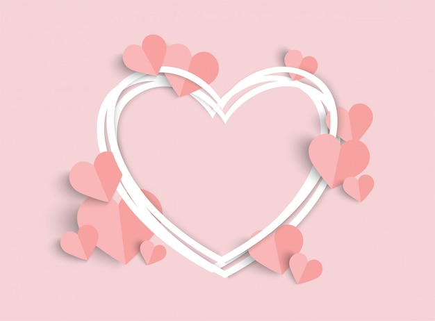 Valentines day pink with heart shape