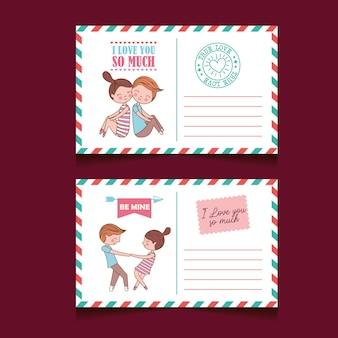 愛とゴムのかわいいカップルがセットされたバレンタインデーの郵便はがき。