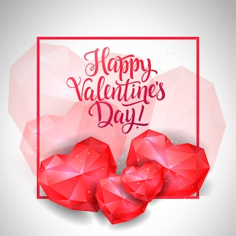Плакат на день святого валентина с рубиновыми сердцами