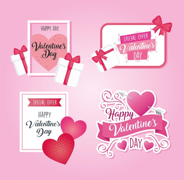 Valentines day posters with letterings and hearts