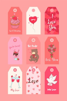 Valentines day printable tags collection. festive set of stickers.