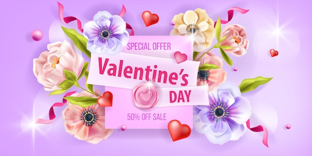 Valentines day promo sale card love vector background with anemone flowers, peony, hearts, confetti. holiday romantic spring floral poster or greeting flyer. valentines day nature background design