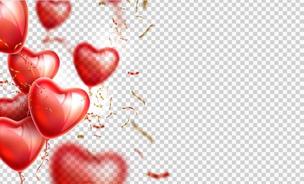 День святого валентина реалистичный воздушный шар в форме сердца с конфетти