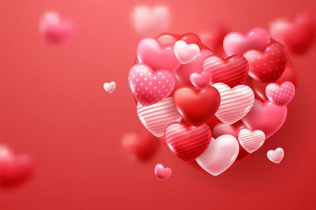 バレンタインデーの赤とピンクのハート
