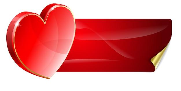 День святого валентина красное знамя с декоративным сердцем
