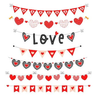 Красный набор овсянки на день святого валентина. партийные флаги треугольника с сердечками.