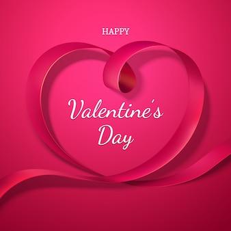발렌타인 데이 빨간 리본 하트입니다. 사랑의 휴일
