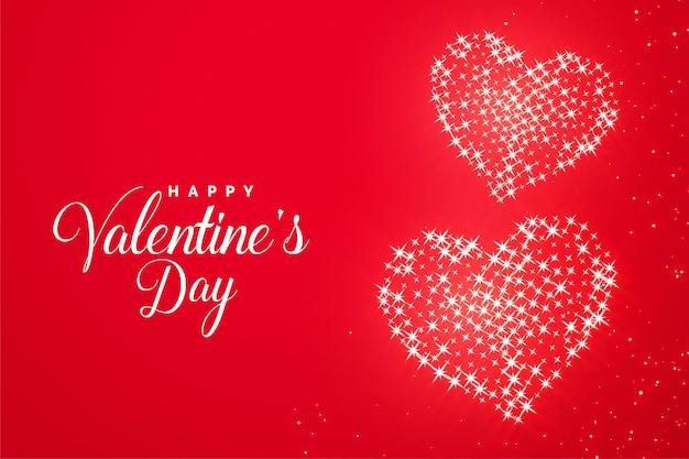Valentines day red romantic sparkle heart greeting card