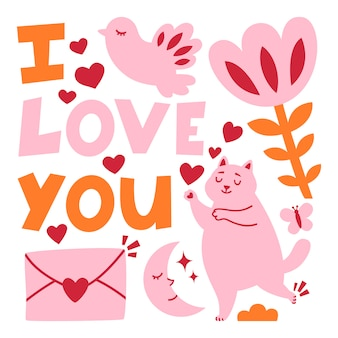 Valentines day romance greeting card with cat.