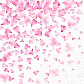 Valentines day romantic background of pink hearts petals falling