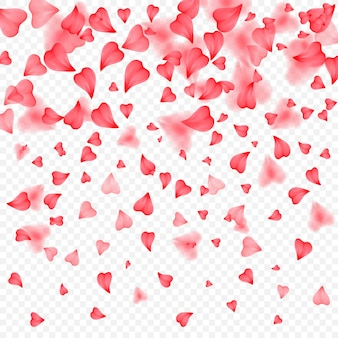 Valentines day romantic background of red hearts petals falling realistic flower petal in shape of