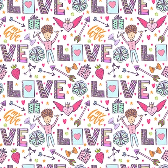 Valentines day romantic background. vector creative pattern with cupid angel, arrows and love words. creative seamless print.