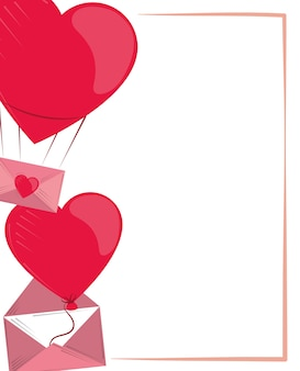 Valentines day, romantic balloons heart and message illustration