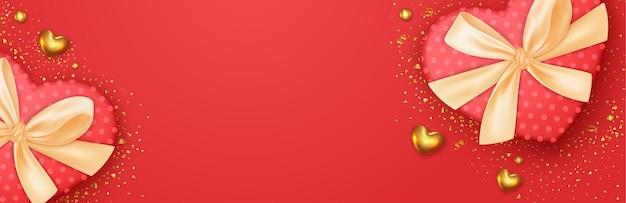 День святого валентина романтический баннер с дизайном реалистичной коробки для подарков