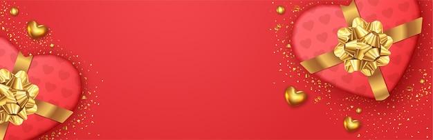 День святого валентина романтический баннер с реалистичным дизайном подарочной коробки
