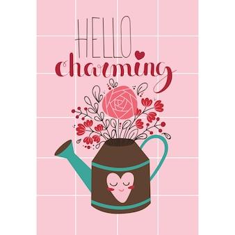 じょうろの花束とバレンタインデーのロマンチックな創造的なカード