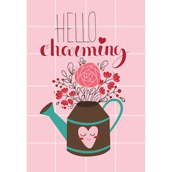 Valentines day romantic creative card with bouquet in a watering can