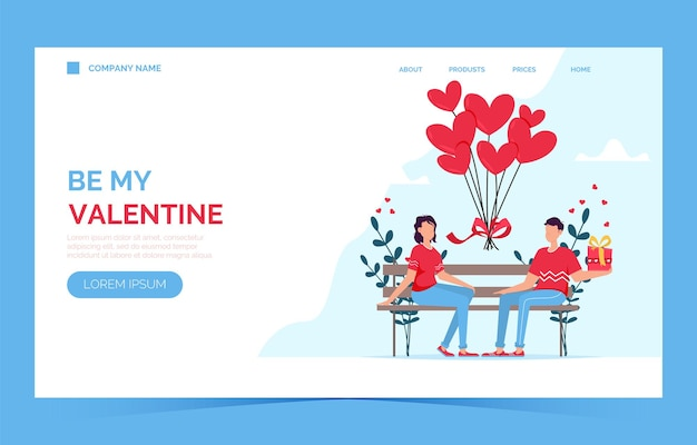 Valentines day romantic dating gift card landing page. lovers relationship two people.