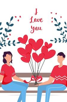 Подарочная карта романтических свиданий дня святого валентина. влюбленные отношения двух человек. пара, сидящая на скамейке. влюбленная пара на скамейке. веселая молодая пара сидит рядом друг с другом и улыбается.