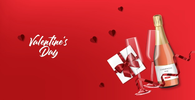 バレンタインの日、ロマンチックで現実的なシャンパンボトル、ガラス、ギフト、赤い背景、愛の概念