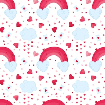 Valentines day romantic seamless pattern. february 14 holiday decorative backdrop. clouds, pink rainbows and love letters background. festive cute wrapping paper, textile design