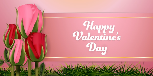 Valentines day roses background banners