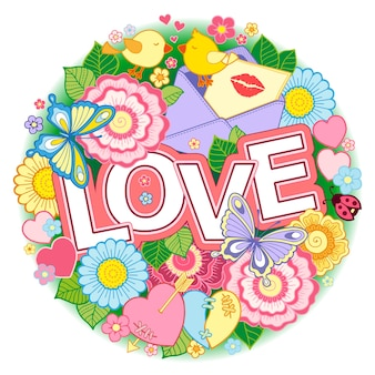Valentines day    round shape made of abstract flowers butterflies birds kissing and the word love