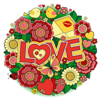 抽象的な花で作られたバレンタインデーの丸い形蝶の鳥のキスと愛という言葉
