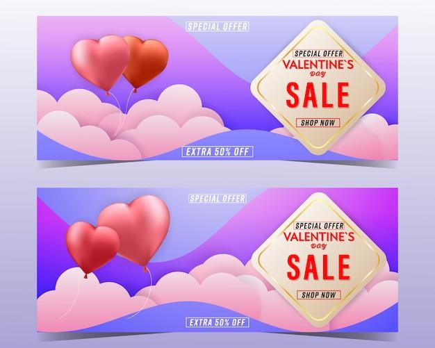 Valentines day sale background banner set