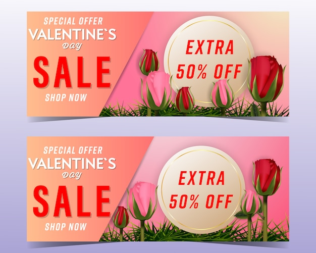 Valentines day sale background banners set